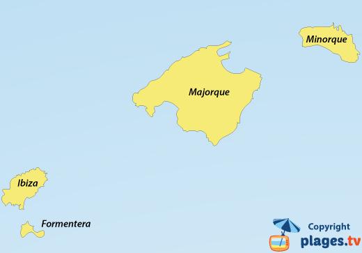 Carte des plages et des stations balnéaires des iles baléares en Espagne
