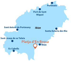 Map of Platja d'En Bossa in Ibiza