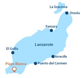 Localisation de Playa-Blanca à Lanzarote - Iles Canaries