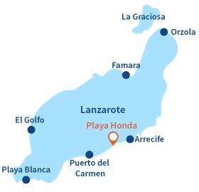 Localisation de Playa Honda sur l'ile de Lanzarote - Canaries