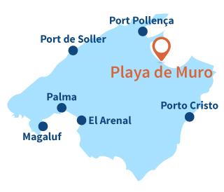 Localisation de la Playa de Muro à Majorque