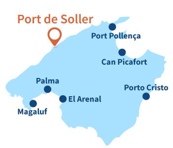 Localisation de Port de Soller sur l'ile de Majorque