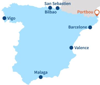 Localisation de Portbou en Espagne