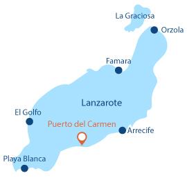 Map of Puerto del Carmen beaches in Lanzarote - Canary island