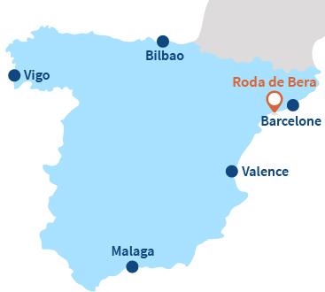 Où se trouve Roda de Bera et El Roc de Sant Gaieta en Espagne