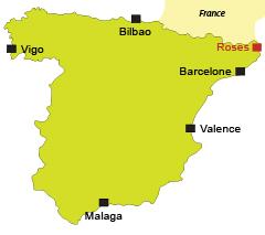 Localisation de Roses en Espagne
