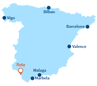 Localisation de Rota en Espagne en Andalousie