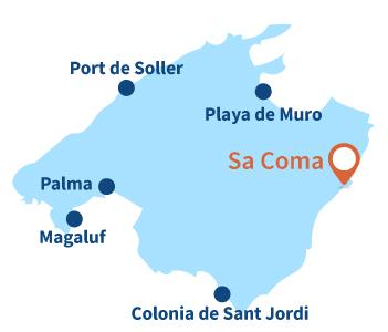 Localisation de Sa Coma en Espagne à Majorque