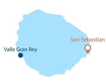 Localisation de San Sebastian sur l'ile de la Gomera - Canaries