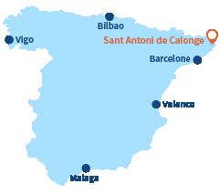 Localisation de Sant Antoni de Calonge sur la Costa Brava - Espagne