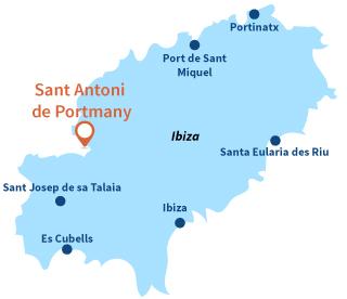 Localisation de Sant Antoni de Portmany à Ibiza - Espagne