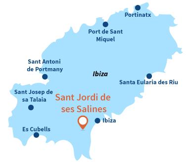 Localisation de Sant Jordi de ses Salines à Ibiza