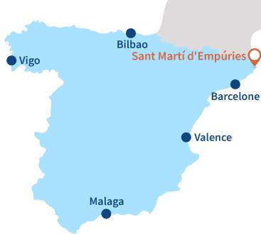 Localisation de Sant Marti d'Empuries en Espagne