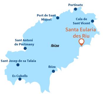 Localisation de Santa Eularia des Riu à Ibiza - Espagne