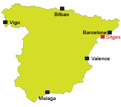 Map of Sitges in Spain