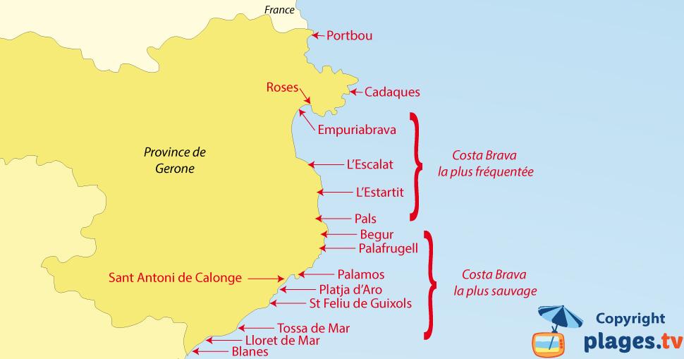 Plages et criques de la Costa Brava en Espagne   Avis, photos et carte