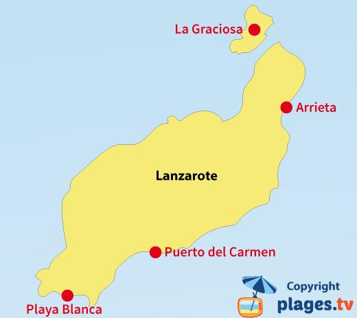Carte des stations balnéaires et des plages de Lanzarote - Canaries
