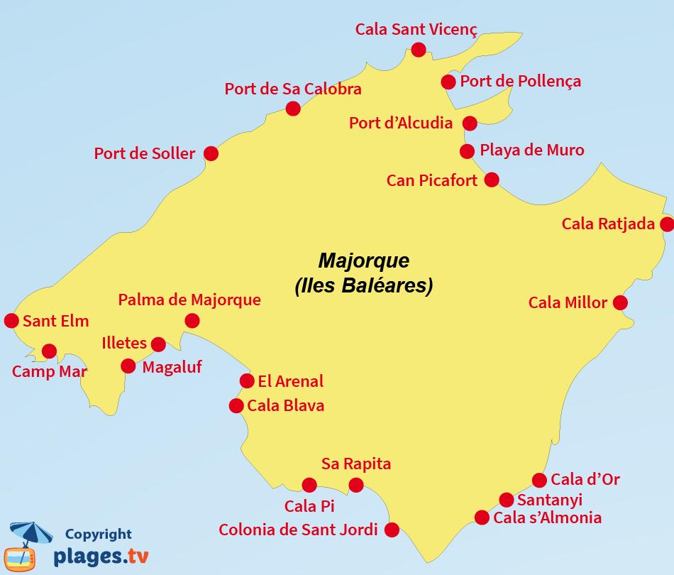 Carte des stations balnéaires de l'ile de Majorque aux Baléares