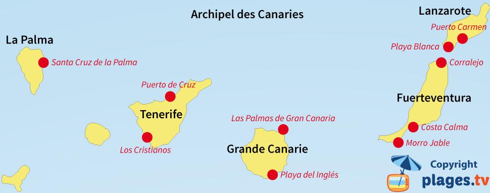 Carte des stations balnéaires et des plages des Canaries