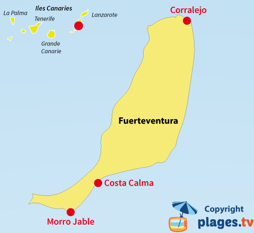 Carte des plages et des stations balnéaires de Fuerteventura - Canaries