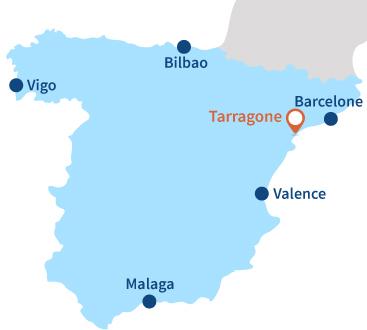 Map of Tarragone in Spain