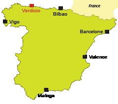 Localisation de Verdicio dans les Asturies en Espagne