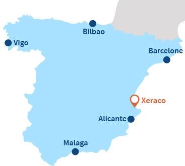 Carte de Xeraco en Espagne