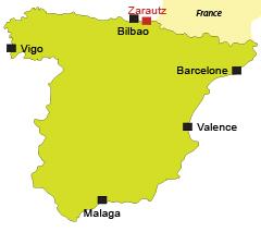 Localisation de Zarautz en Espagne