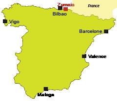 Localisation de Zumaia sur la Côte Basque en Espagne