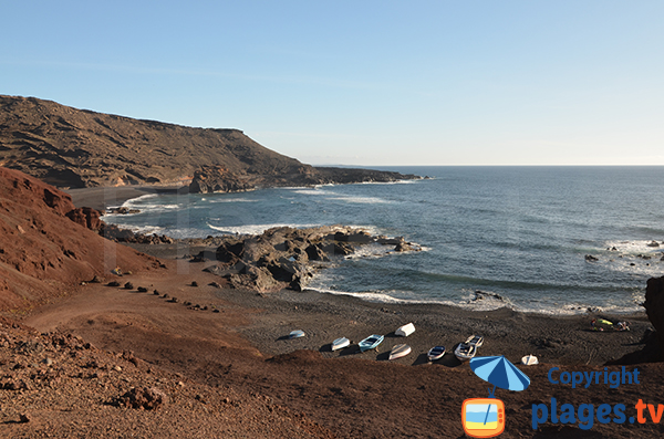 Cove and beach of El Golfo in Lanzarote