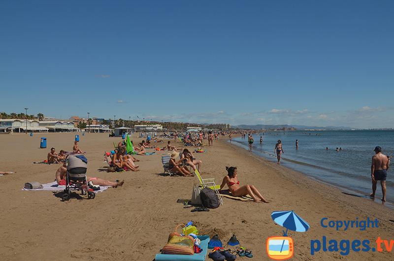 Grande plage de Valence en Espagne