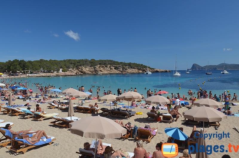 Cala Bassa à Ibiza - l'une des plus animées
