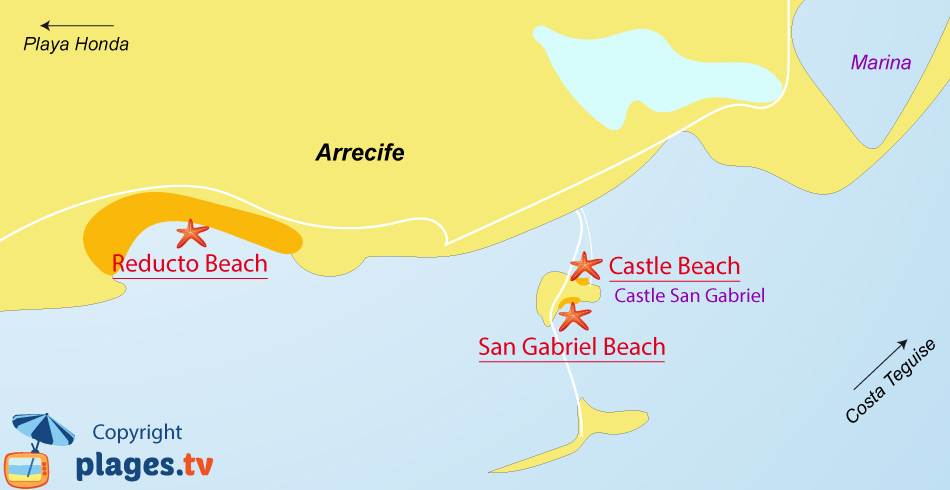 Map of Arrecife beaches in Lanzarote - Canary islands