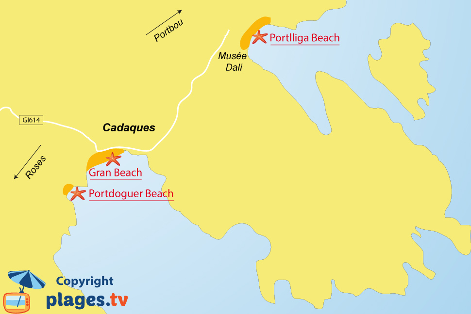 Map of Cadaques beaches in Spain