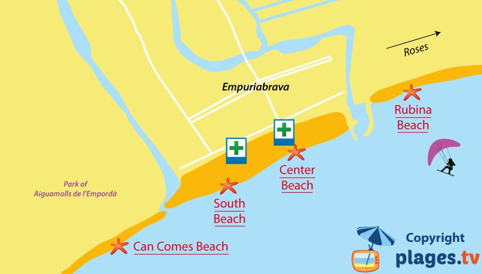 Map of Empuriabrava beaches in Spain