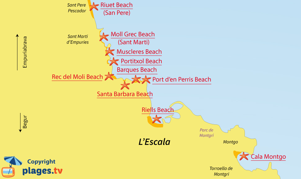 Map of l'Escala beaches in Spain