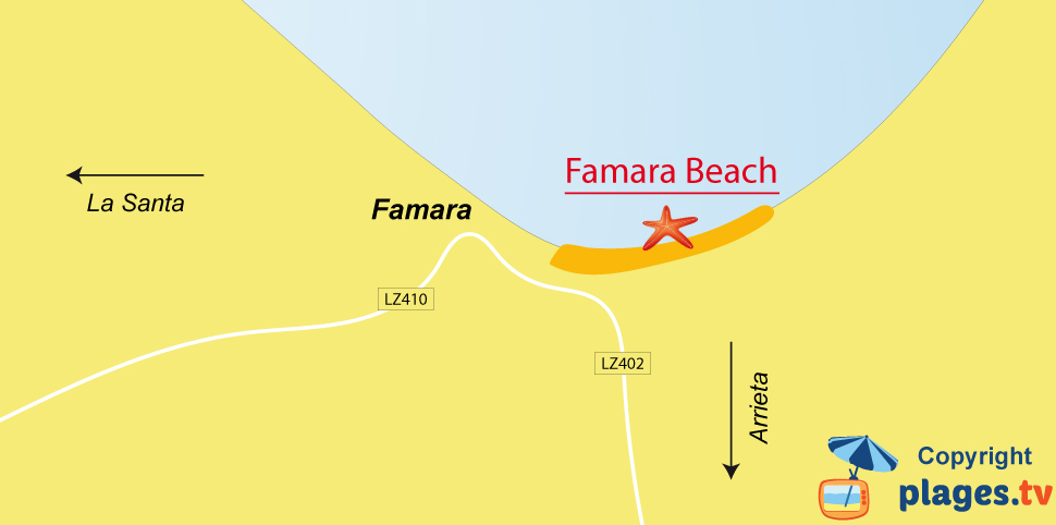 Map of Famara beaches in Lanzarote