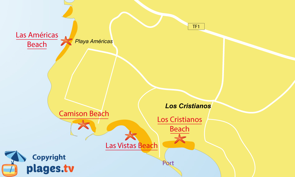 Map of Los Cristianos beaches in Tenerife