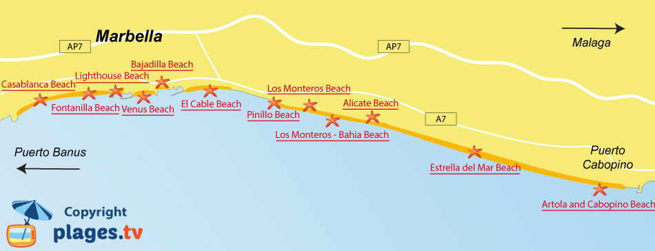 Map of Marbella beaches - Spain