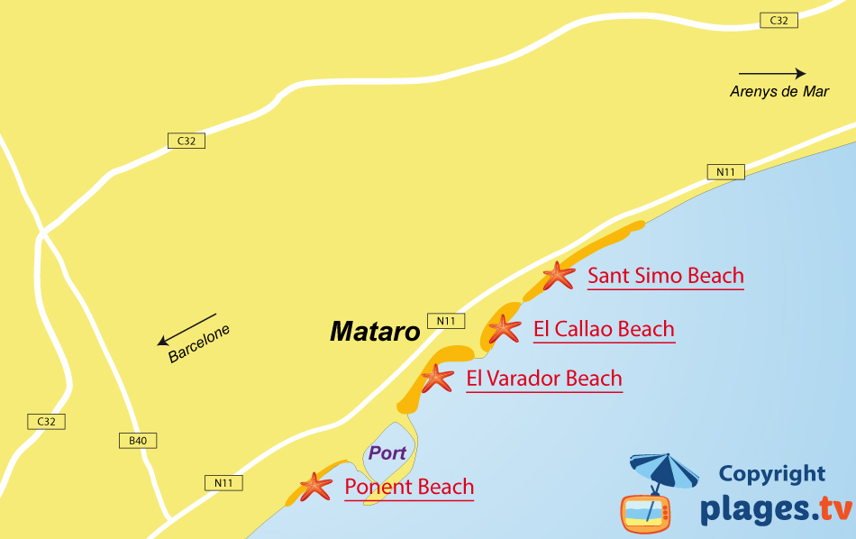 Map of Mataro beaches in Spain