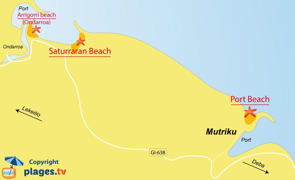 Map of Mutriku beaches in Spain