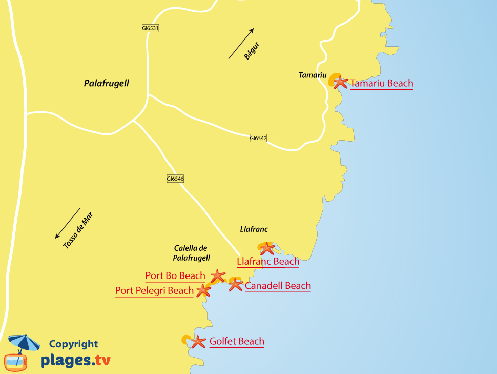 Map of Palafrugell beaches in Spain