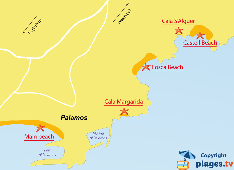 Map of Palamos beaches in Spain