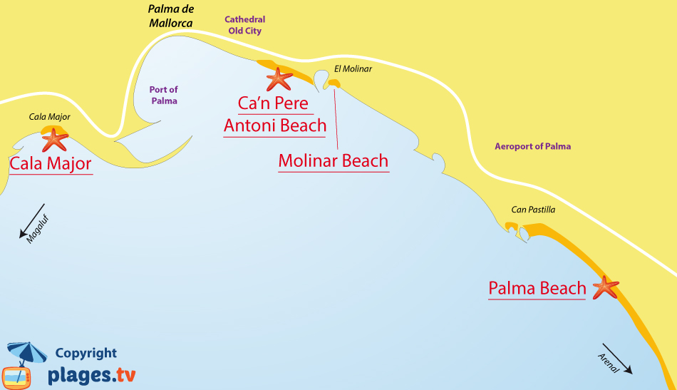 Map of Palma de Mallorca beaches in Spain - Balearic Islands