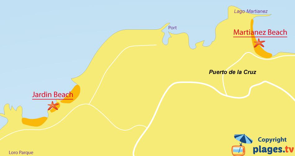 Map of Puerto de la Cruz beaches in Tenerife
