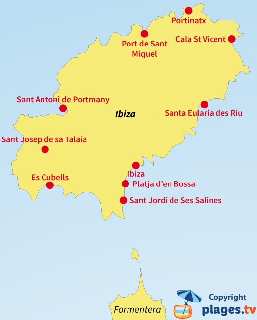 Map beaches and resorts of Ibiza island in Spain