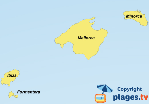 Map of beaches and resorts in Balearic islands in Spain