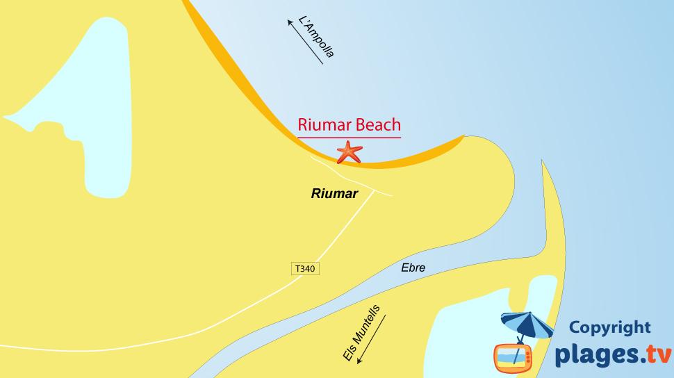Map of Riuamar beaches in Spain