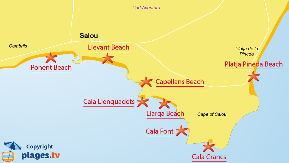 Map Of Spain Showing Salou.Beaches In Salou Catalonia Spain Seaside Resort Of Salou