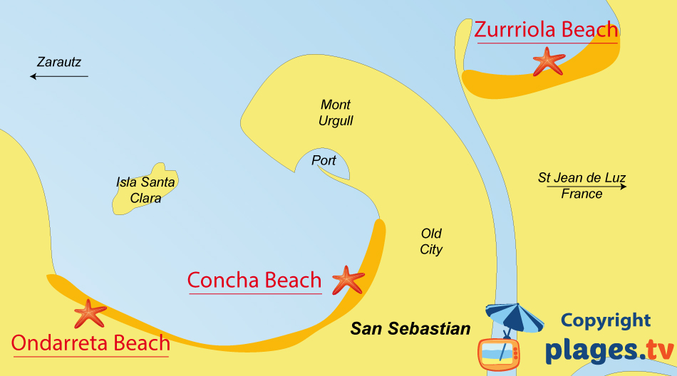 Map of San Sebastian beaches in Spain